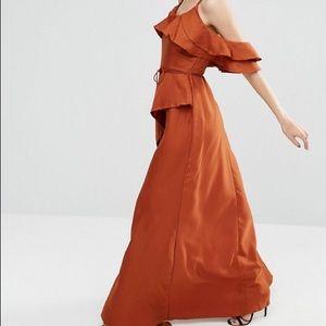 ASOS ruffle maxi dress rust USA size 4